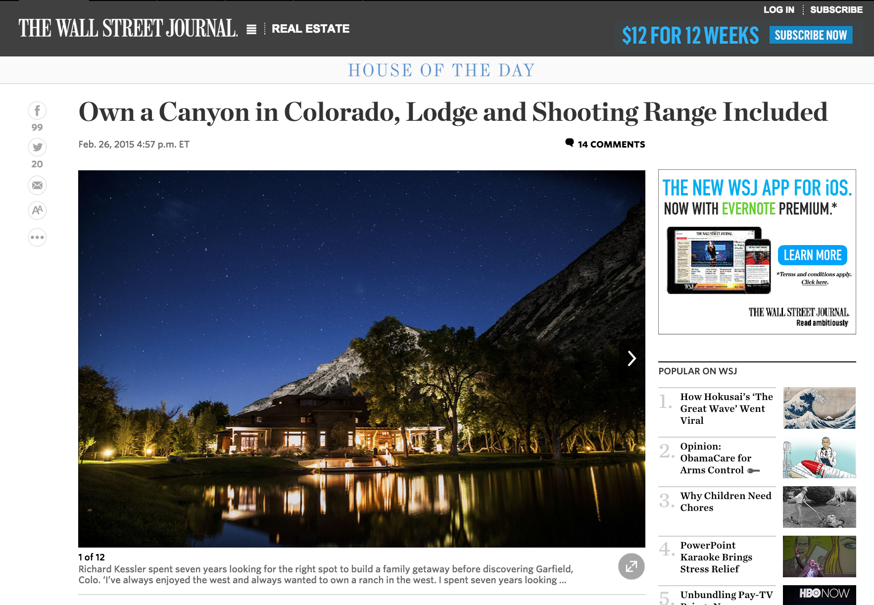 Kessler Canyon Wall Street Journal House of the Day